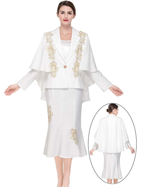 Serafina 3908 Flared Skirt Suit With Cape Style Jacket