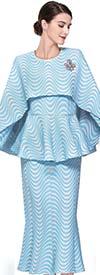 Serafina 3910 Flared Skirt Suit With Cape Style Peplum Jacket