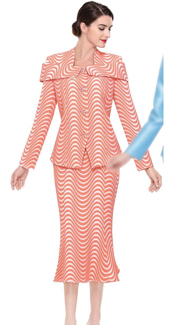 Serafina 3911 Flared Skirt Suit With Over Shoulder Collar Design