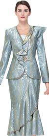 Serafina 3912 Womens Asymmetric Flounce Church Suit With One Shoulder Ruffle