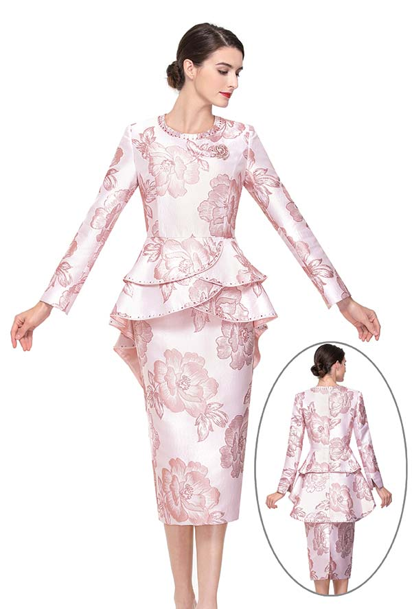 Serafina 3913 Skirt Suit With Layered Peplum Jacket
