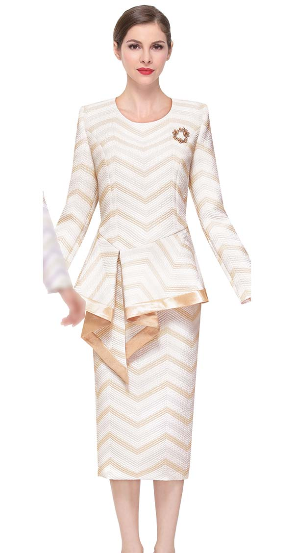 Serafina 3916-Gold - Chevron Pattern Skirt Suit With Asymmetric Peplum Jacket