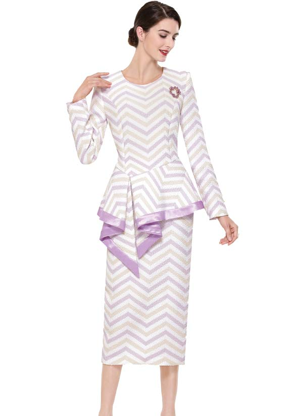Serafina 3916-Lilac - Chevron Pattern Skirt Suit With Asymmetric Peplum Jacket