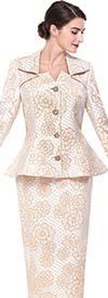 Serafina 3918 Peplum Jacket Skirt Suit With Floral Design