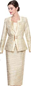 Serafina 3921-Beige Skirt Suit With Square Neckline
