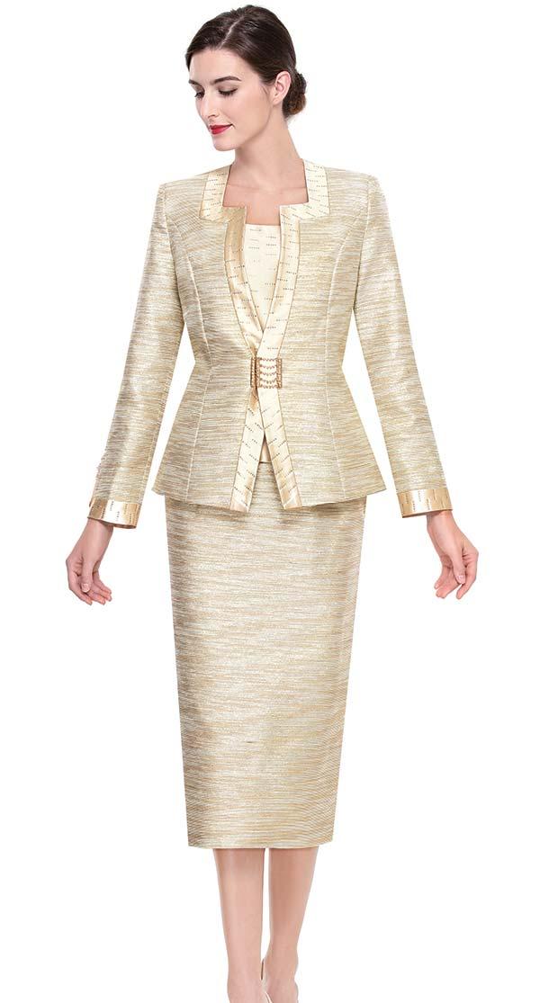Serafina 3921-Beige Skirt Suit With Square Neckline