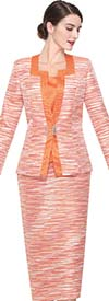Serafina 3921-Orange Skirt Suit With Square Neckline
