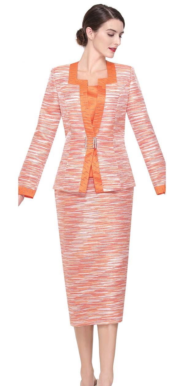 Serafina 3921-Orange Skirt Suit With Square Neckline