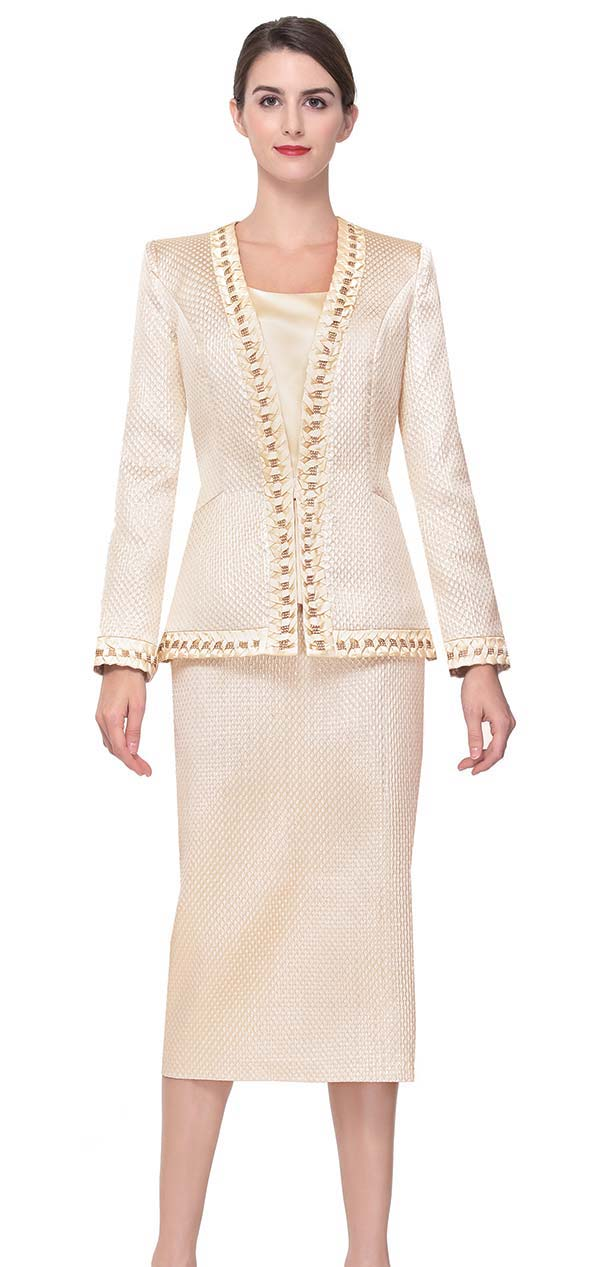 Serafina 3922 Skirt Suit With Intricate Trim Design