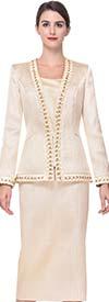 Serafina 3922 Skirt Suit With Intricate Trim Design
