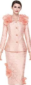 Serafina 3923 Skirt Suit With Ruffle Adornments