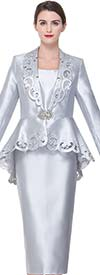 Serafina 3926 Cut-Out Design Church Suit With Peplum Jacket
