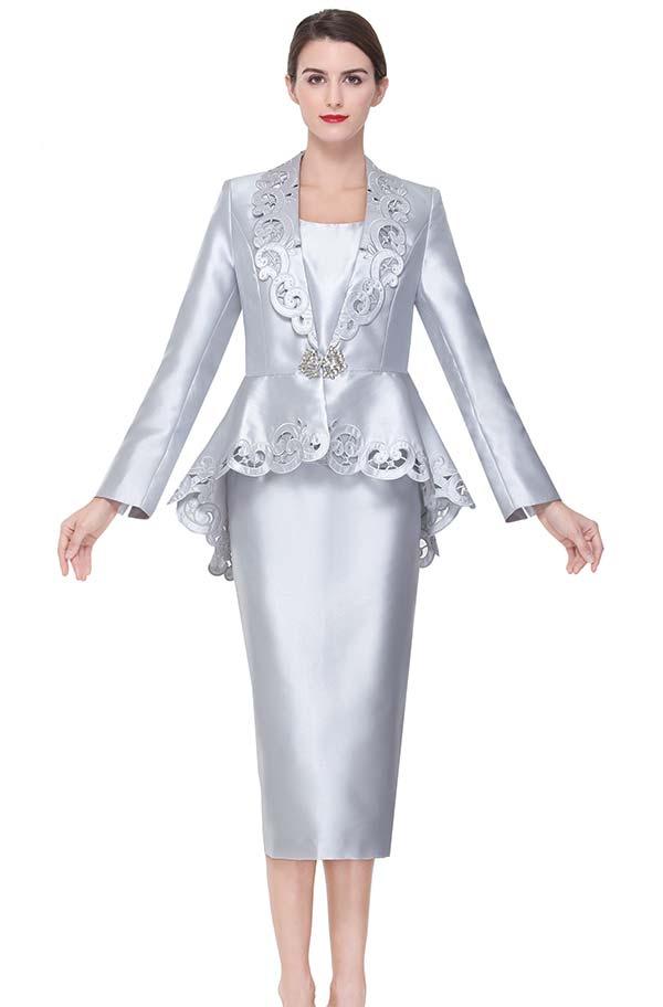 Serafina 3926 Cut-Out Design Church Suit With Peplum Jacket