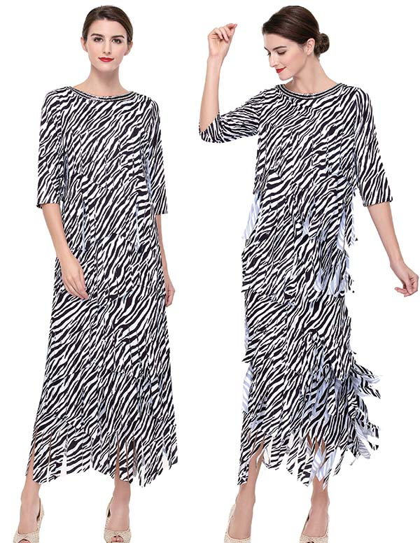 Serafina 467 Womens Carwash Skirt Suit With Zebra Print Design