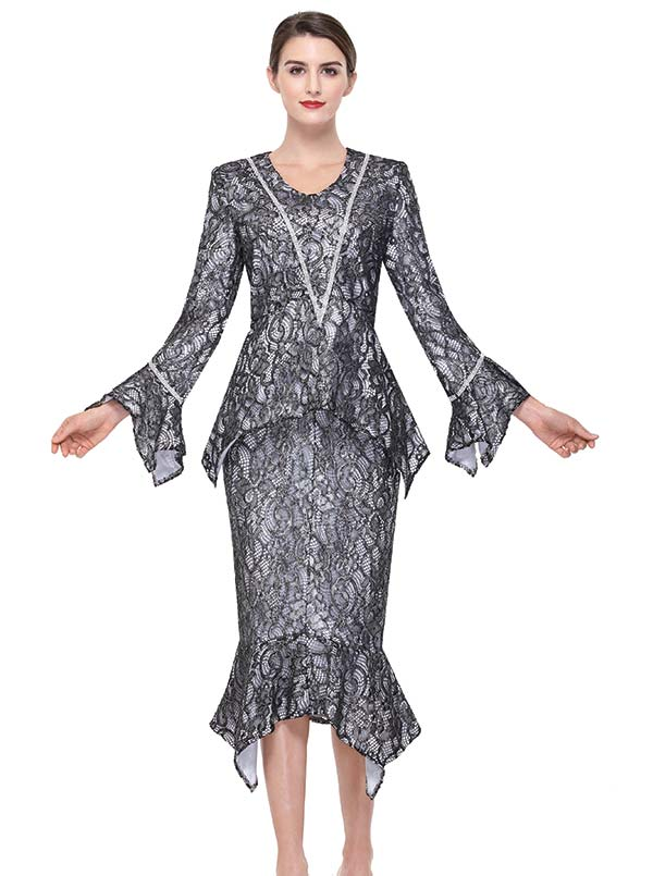 Serafina 478 Sharkbite Flounce Skirt Suit In Lace Fabric