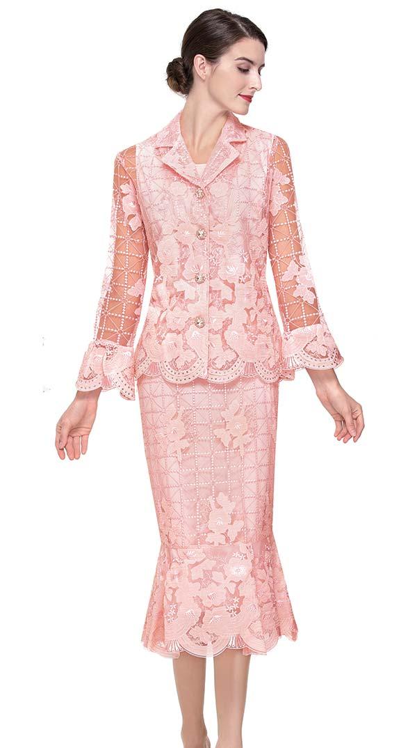Serafina 505 Ladies Mesh & Lace Flounce Skirt Suit