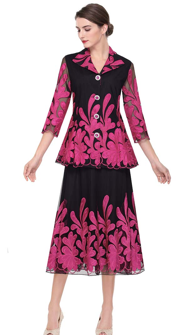 Serafina 522 Ladies Mesh & Satin Skirt Suit With Floral Design