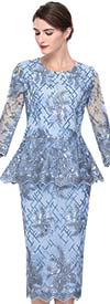 Serafina 525 Ladies Mesh & Lace Skirt Suit With Peplum Jacket