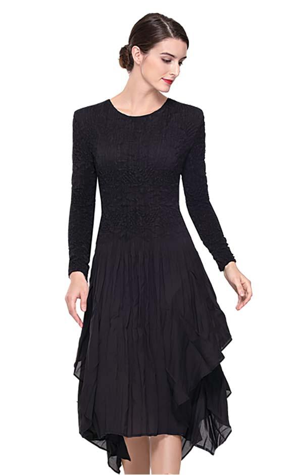 Serafina 602 Ladies Ruffle Pleats Dress