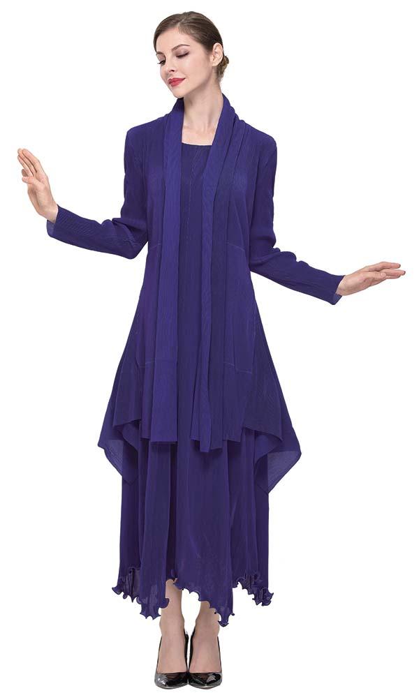 Serafina 604-Blue Womens Dress Set With Ruffled Hem