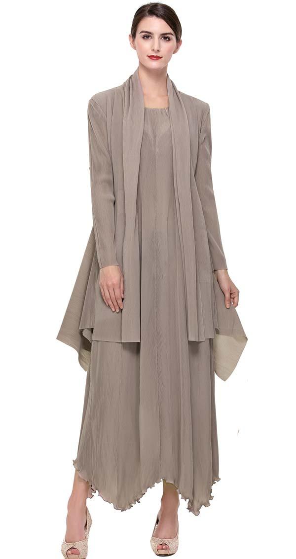 Serafina 604-Stone Womens Dress Set With Ruffled Hem
