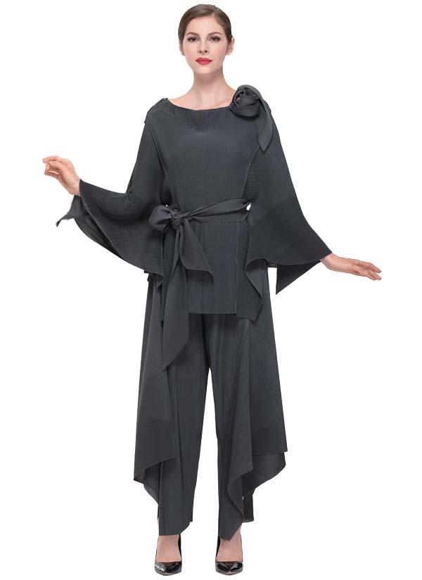 Serafina 605-Grey Womens Pant Set With Angel Wing Sleeves & Sash