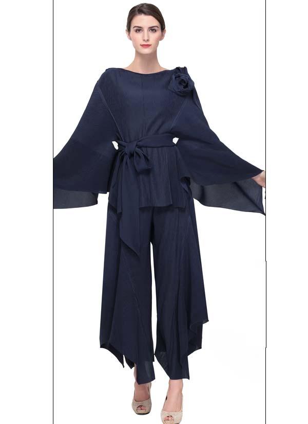Serafina 605-Navy Womens Pant Set With Angel Wing Sleeves & Sash
