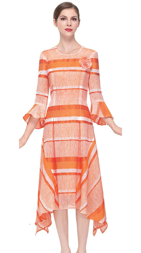 Serafina 6167-Orange - Pleated Sharkbite Dress With Striped Design