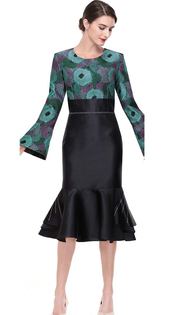 Serafina 6177 Embellished Flounce Hem Dress With Bell Sleeves
