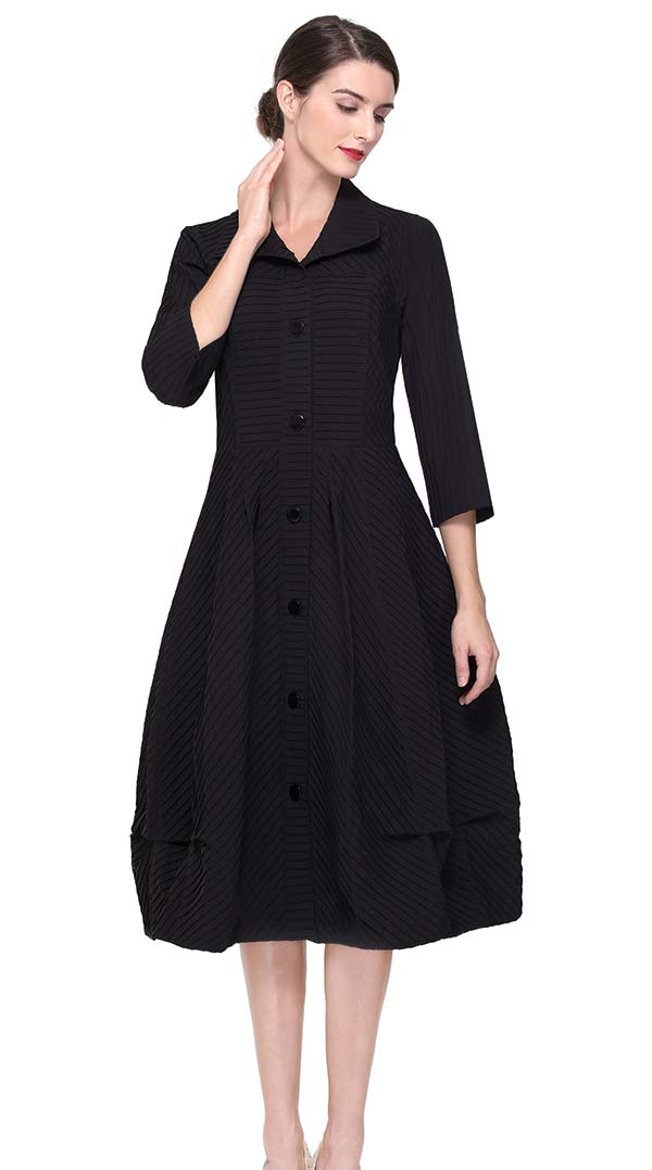 Serafina 6192 Pleated Puff Dress With Buttons
