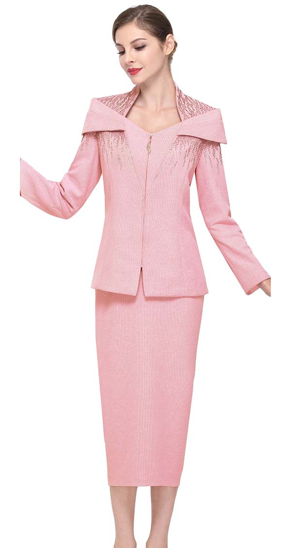 Serafina 805 Portrait Collar Style Knit Skirt Suit With Embellishments