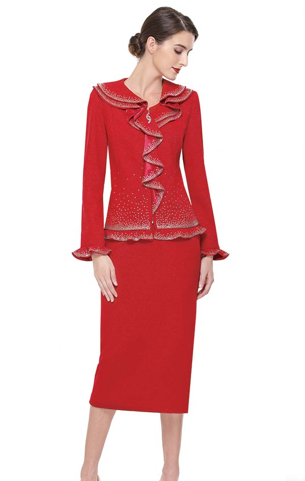 Serafina 806 Knit Embellished Skirt Suit With Cascading Collar