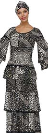Serafina 3050-WhiteBlack - Layered Bell Sleeve Tiered Skirt Suit In Multi Pattern Design