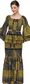 Serafina 3050-YellowBlack - Layered Bell Sleeve Tiered Skirt Suit In Multi Pattern Design