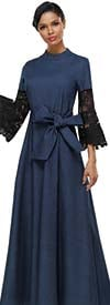 Serafina 3053D Pleated Denim Dress With Sash And Lace Bell Sleeves