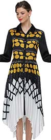 Serafina 3056D Accordion Style Pleated Long Sleeve Dress In Multi Pattern Print Design