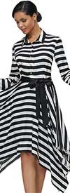 Serafina 3059D Striped Dress With Sash And Shirt Style Collar