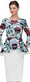 Serafina 3063T Rose Print Pattern Flounce Bell Sleeve Blouse