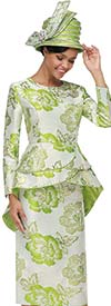 Serafina 3913 Womens Suit In Flower Pattern With Tulip Peplum Jacket