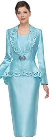 Serafina 3926 Ladies Skirt Suit With Intricately Trimmed Peplum Jacket