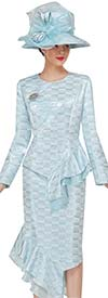 Serafina 3935 Asymmetric Style Womens Suit In Gradient Grid Pattern With Ruffle Flounce Details