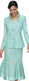 Serafina 3953-Mint - Godet Style Skirt Suit With Layered Stand-Up Collar And Large Buttons