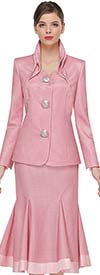 Serafina 3953-Pink - Godet Style Skirt Suit With Layered Stand-Up Collar And Large Buttons