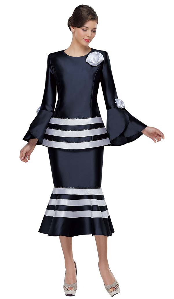Serafina 3959 Striped Flounce Hem Skirt And Tulip Bell Sleeve Jacket With Flower Details