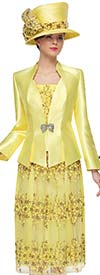 Serafina 3973 Womens Floral Lace Skirt Suit With Silky Diamond Neckline Jacket