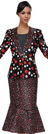 Serafina 3978 Flounce Hem Skirt Suit With Clover Lapel Jacket In Polka Dot Print
