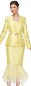 Serafina 4010 Ladies Church Suit With Organza Flounce Hem Skirt