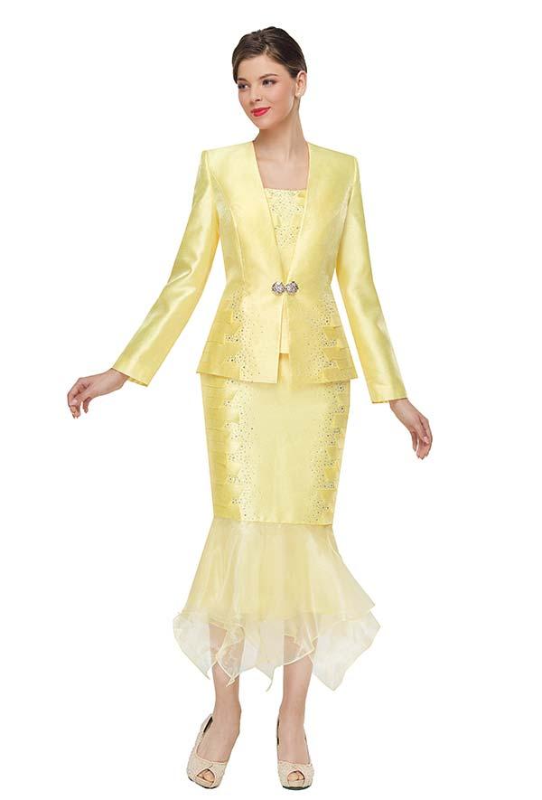 Serafina 4010 Ladies Church Suit With Organza Flounce Hem Skirt