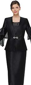 Serafina 4012 Womens Church Suit With Triple Tiered Bell Sleeves