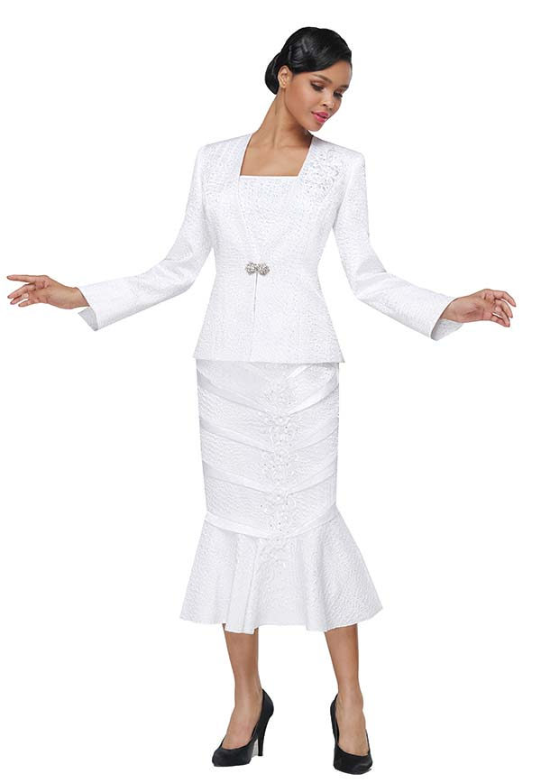 Serafina 4013 Womens Church Suit With Pleat Accent Flounce Skirt & Floral Details